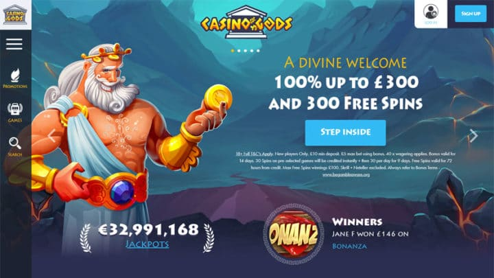 Casino Gods - 100% up to 300 + 300 Free Spins