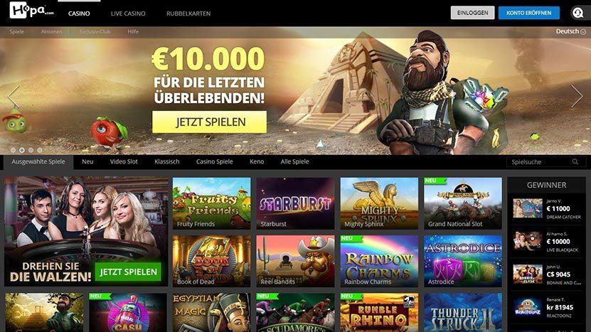 Hopa Casino Bewertung - 100 Freispiele + 200 Euro Willkommensbonus