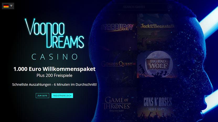 Voodoo Dreams > 1.000€ Bonus + 200 Starburst Freispiele