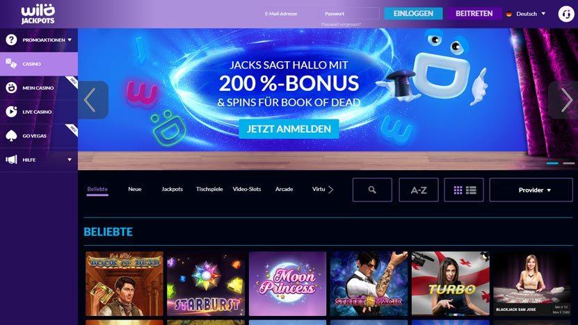 wild-jackpots-casino 200% Wild Jackpots Casino Bonus plus Freispiele für Book of Dead