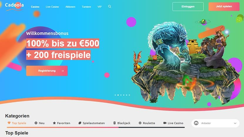 500€ einzahlen und mit 1.000€ im Cadoola Casino spielen!