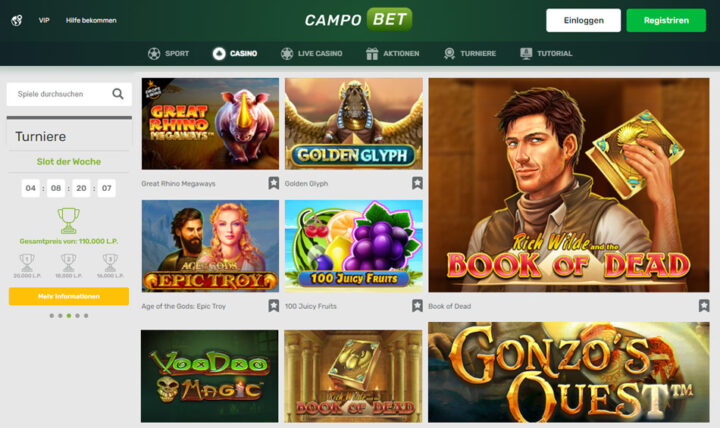 Online Spielautomaten bei Campobet
