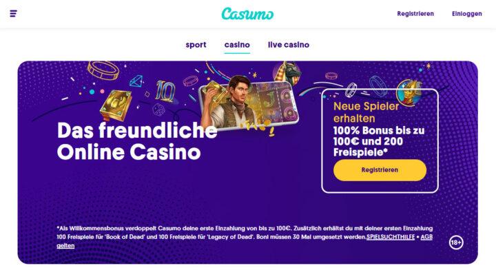 Casumo > 100% bis €500 Bonus + 120 Freispiele