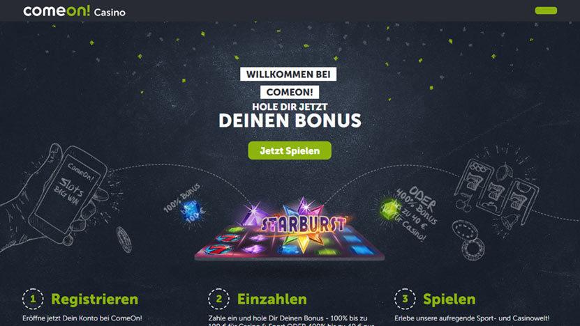 Come On Casino > Zahle 10 Euro ein und spiele mit 50 Euro