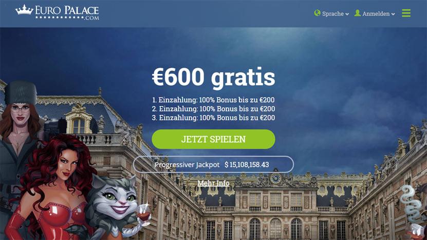 Euro Palace Casino > 600€ Gratis, 3 mal 200€ Einzahlungsbonus