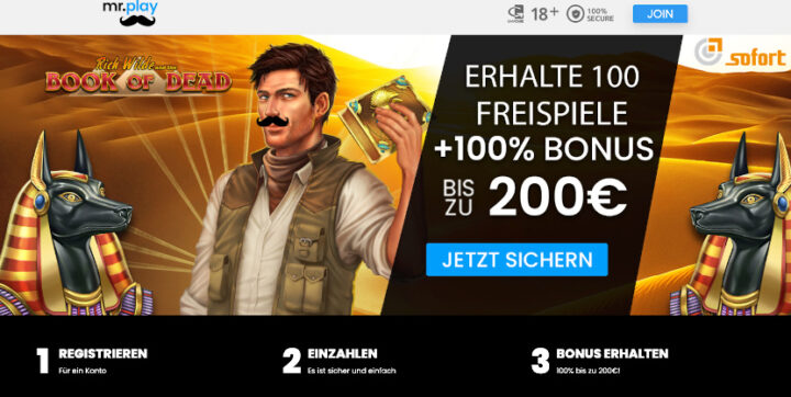 Mr Play Casino > 100% Bonus bis 200 Euro plus 100 Freispiele