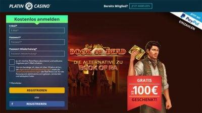 Platin Casino, 100€ Bonus, Paypal als Zahlungsart
