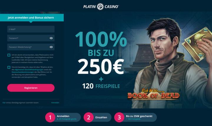 Platin-Casino - 100% Bonus und 30 Freispiele