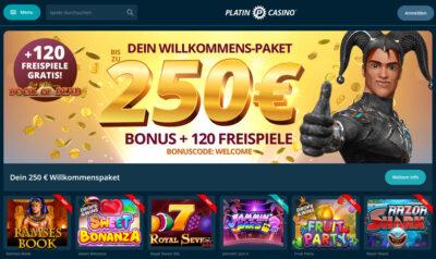 Platincasino - €250 Bonus und 120 Freispiele