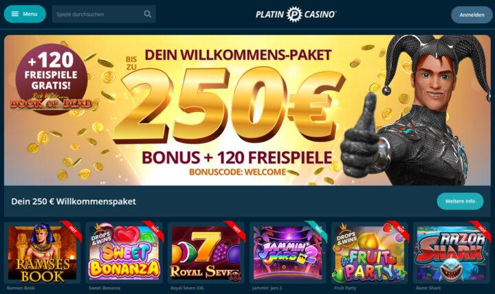 Platincasino - 100% Bonus und 30 Freispiele