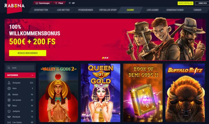 Rabona - 100% Bonus bis €500 plus 200 Freipspiele