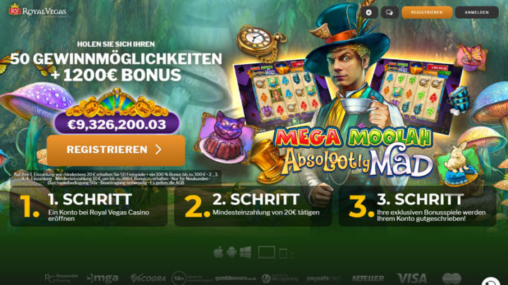 RoyalVegas Casino: Spiele mega moolah absolootly mad
