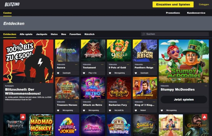 Blitzino Casino Spiele