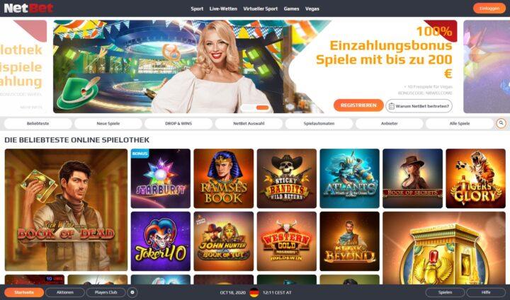 NetBet > Zahle €100 ein, spiele Automaten mit €200