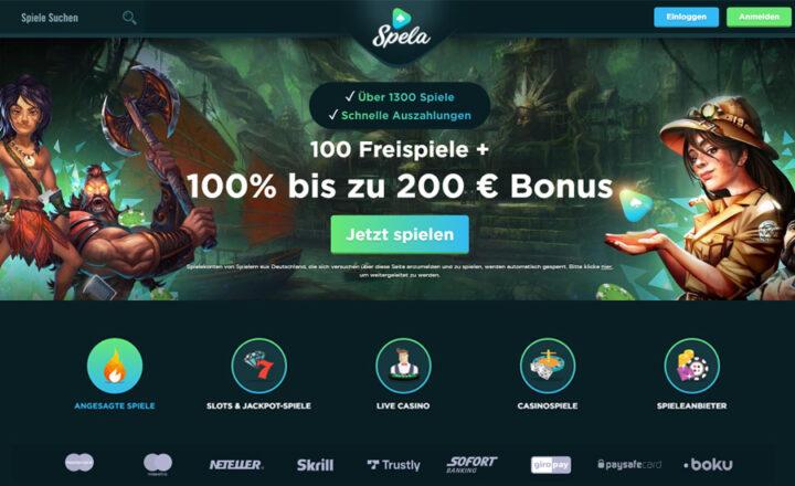 Spela - 100 Freispiele & 100% Bonus bis 200 Euro