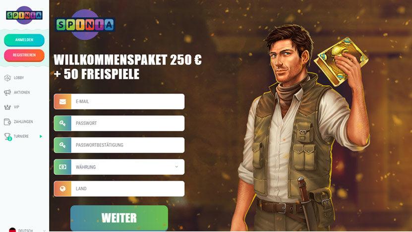 spinia-bonus Sagenhafte 1.250 Euro mit 100 Free Spins