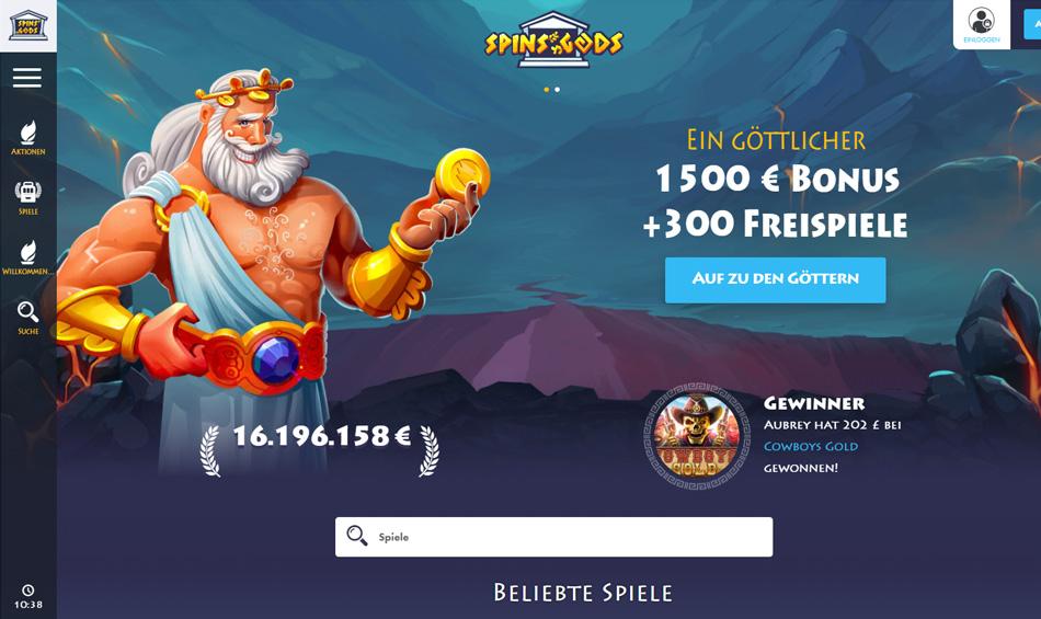Spins Gods Bonus: 1500 € Bonus + 300 Freispiele
