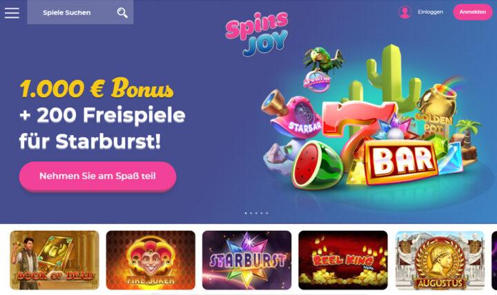 Spins-Joy > Mit €1000 Bonus plus 200 Freispiele für Starburst