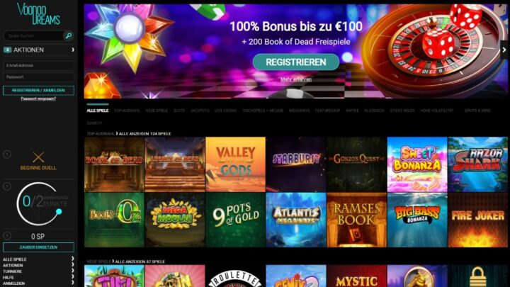 100€ VoodooDreams Willkommenspaket inklusive 200 Freispiele